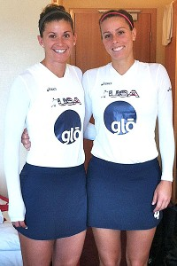 Rachel Dawson, left, with her younger sister Meghan at the Champions Challenge Tournament in Dublin -- Meghan's first game on the U.S. national team.