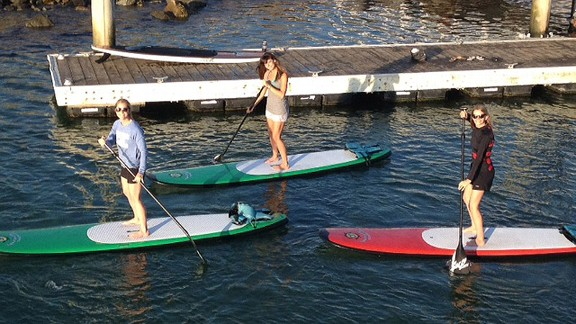 Our writer, Alyssa (far left), got some training in with friends Alli and Britt before making the trip to Tahiti.
