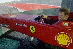 Brad Keselowski was right at home in the Ferrari Formula One simulator, one of only three in existence worldwide.