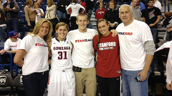 The hoops-playing Tinkle family -- from left, mother Lisa, Elle, Tres, Joslyn and father Wayne -- is enjoying a special Stanford-Gonzaga rivalry.
