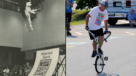 'A Wicked Ride' filmmaker Scott Moroney in 1988 (left) and 2012 (right).
