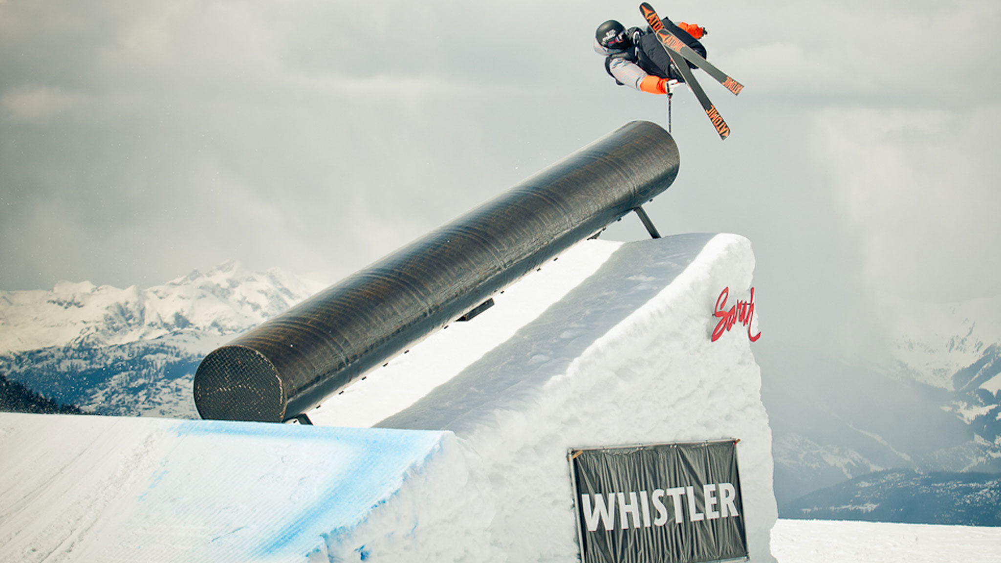 Gus Kenworthy competing at Whistler last weekend en route to his third AFP overall title.