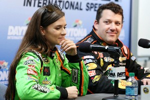 Danica Patrick and her boss at Stewart-Haas Racing, Tony Stewart, met the media during the first day of Sprint Cup testing at Daytona.