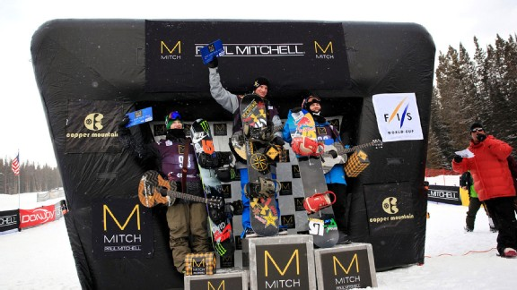 Chas Guldemond, Roope Tonteri and Peetu Piirionen on the men's snowboard slopestyle podiums at Copper.