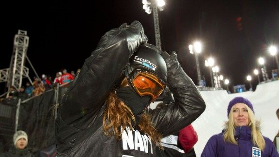 Gold medalist Shaun White celebrates his perfect score of 100 competing in the Men's Snowboard SuperPipe at X Games Aspen 2012.