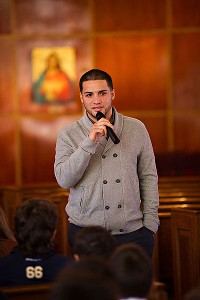 Hector Santiago, a native of Newark, N.J., paid a visit to St. Rose of Lima Church in Newtown, Conn., a month after the shootings at Sandy Hook Elementary School.