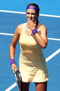 Victoria Azarenka advanced to the Australian Open quarterfinals with a 6-1, 6-1 win over Elena Vesnina on Monday.