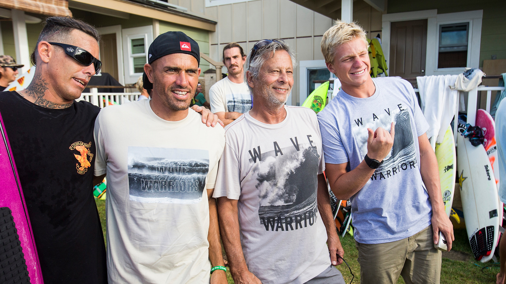 Christian and Herbie Fletcher share a little aloha with Kelly Slater and Kolohe Andino.