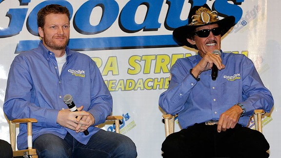 Dale Earnhardt Jr. and Richard Petty share another thing: They're both pitchmen for Goody's.