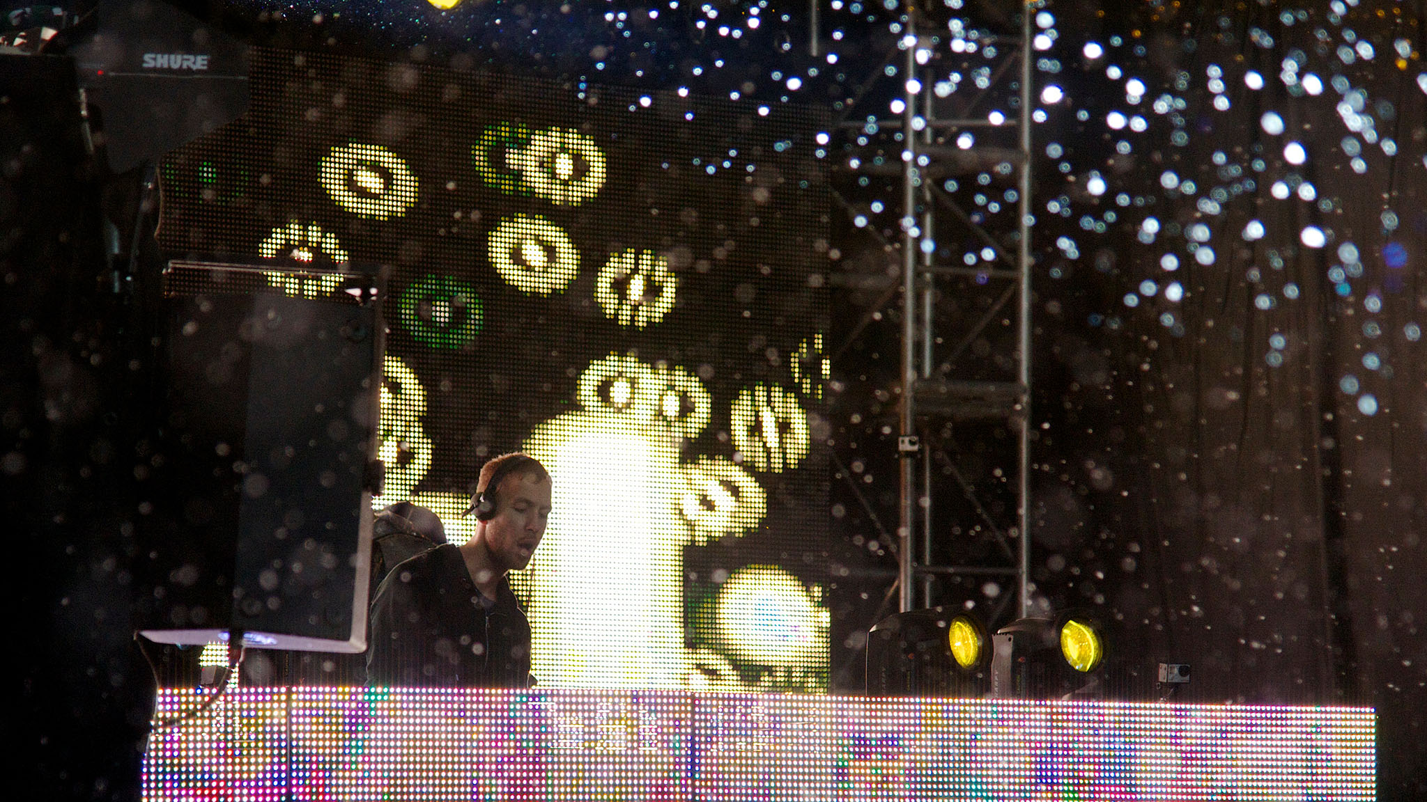 EDM DJ Calvin Harris feelin' it during his set at X Games Aspen on Saturday afternoon at Buttermilk Mountain.
