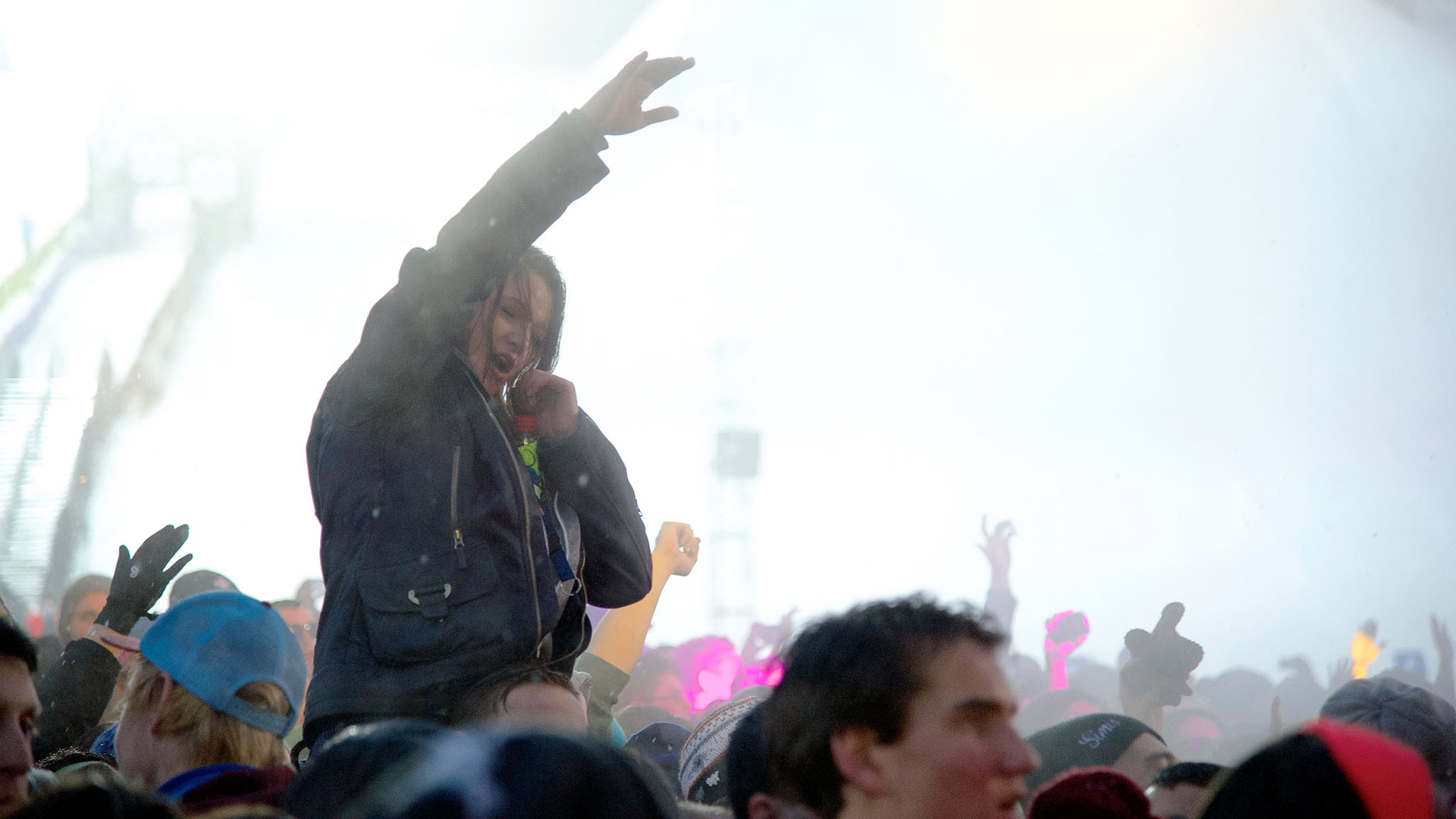 A fan gets the bird's-eye view of Calvin Harris at his X Games MUSIC performance Saturday.