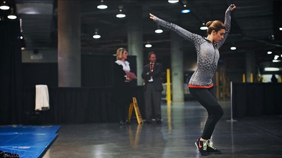 Ashley Wagner preps backstage before competing at Saturday's U.S. Figure Skating Championships.