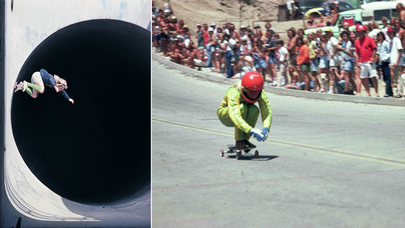 Don Waldo Autry going over vert at Mt. Baldy pipe in 1975 and speed tucking on Signal Hill in 1976.