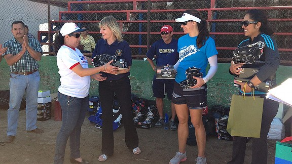 As part of the sports diplomacy program, new softball equipment was donated to the local players.
