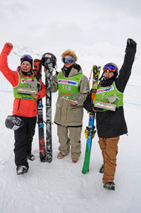 Victorious Norwegians: (L-R) Tiril Sjaastad Christiansen, Klause Finne, and Johan Berg.