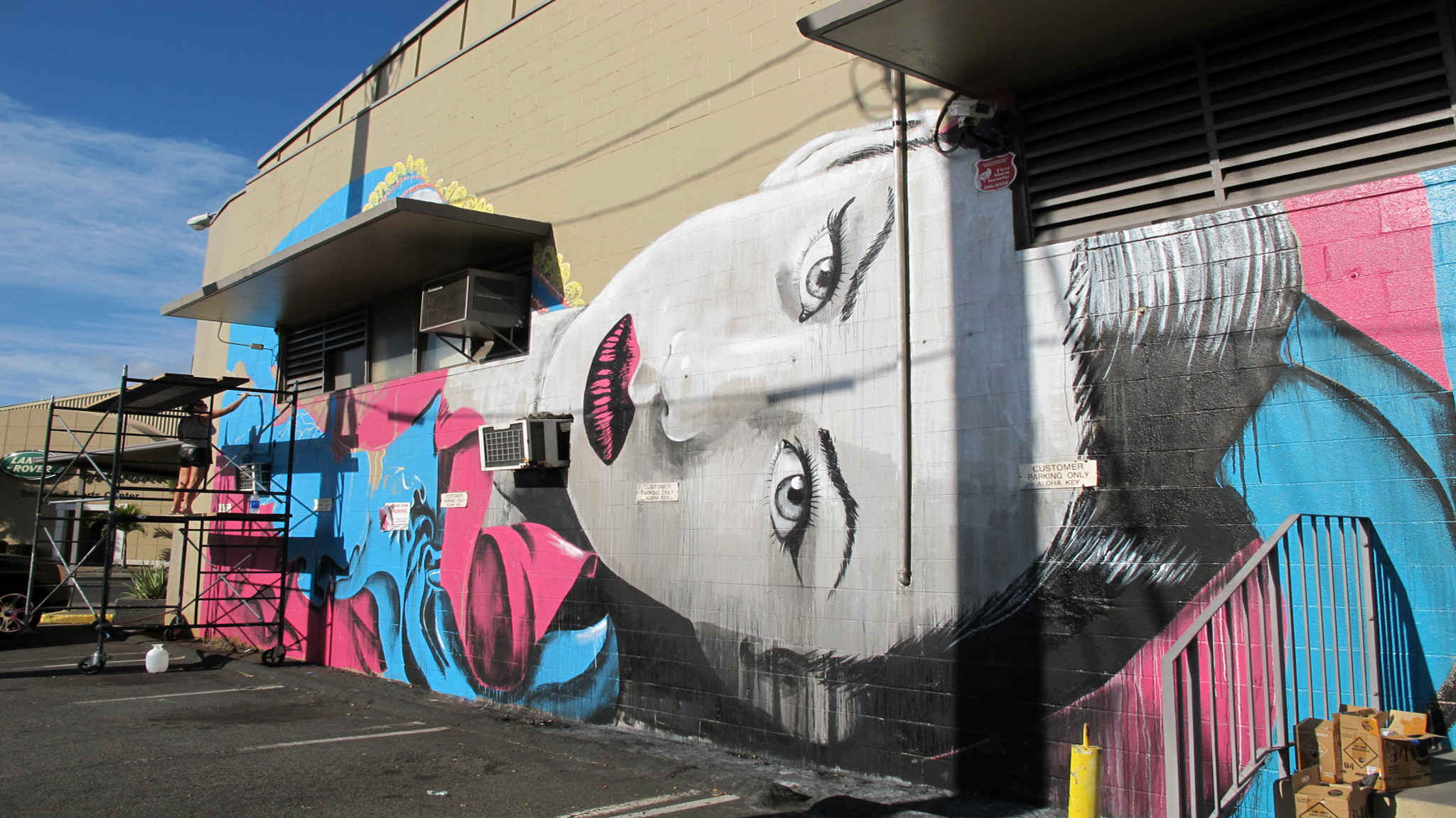 Rone returns to Pow Wow Hawaii this year. The stencil artist from Melbourne, Australia, is an original member of Everfresh Studios and is known for his stylized depictions of female faces. This is Rone's mural from Pow Wow Hawaii 2012.