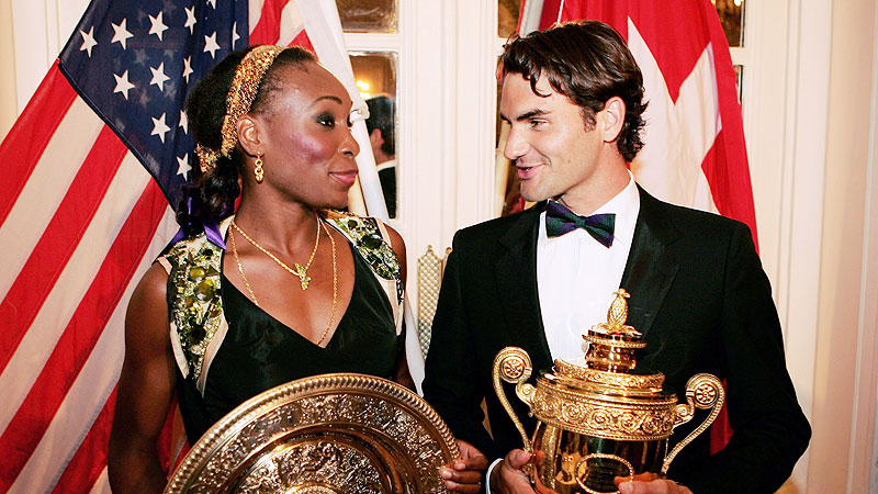 Venus Williams, left, and Roger Federer won respective Wimbledon singles titles in 2005 and 2007, but Venus didn't receive equal prize money until '07.