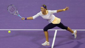 Victoria Azarenka, returning a ball during the Qatar Open in February, withdrew from Indian Wells on Thursday due to an injured ankle.