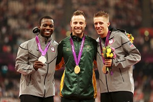 Blake Leeper, left, shared the podium with Oscar Pistorius, center, and U.S. teammate David Prince at the 2012 Paralympic Games.