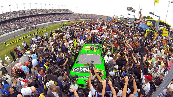Daytona Beach police struggled to control the scene as fans swarmed Danica Patrick in her No. 10 Chevrolet -- and that was before the race.