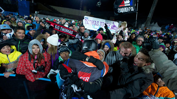 French fans cheer for Thomas Krief at last year's X Games Tignes.