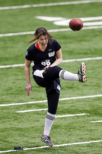 Lauren Silberman winces as she attempts a kick at the NFL Regional Scouting Combine.