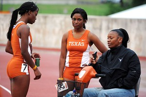 Former Texas track coach Bev Kearney, talking with athletes Kira Robinson, left, and Alandra Sherman in 2008, won six national titles with the Longhorns.