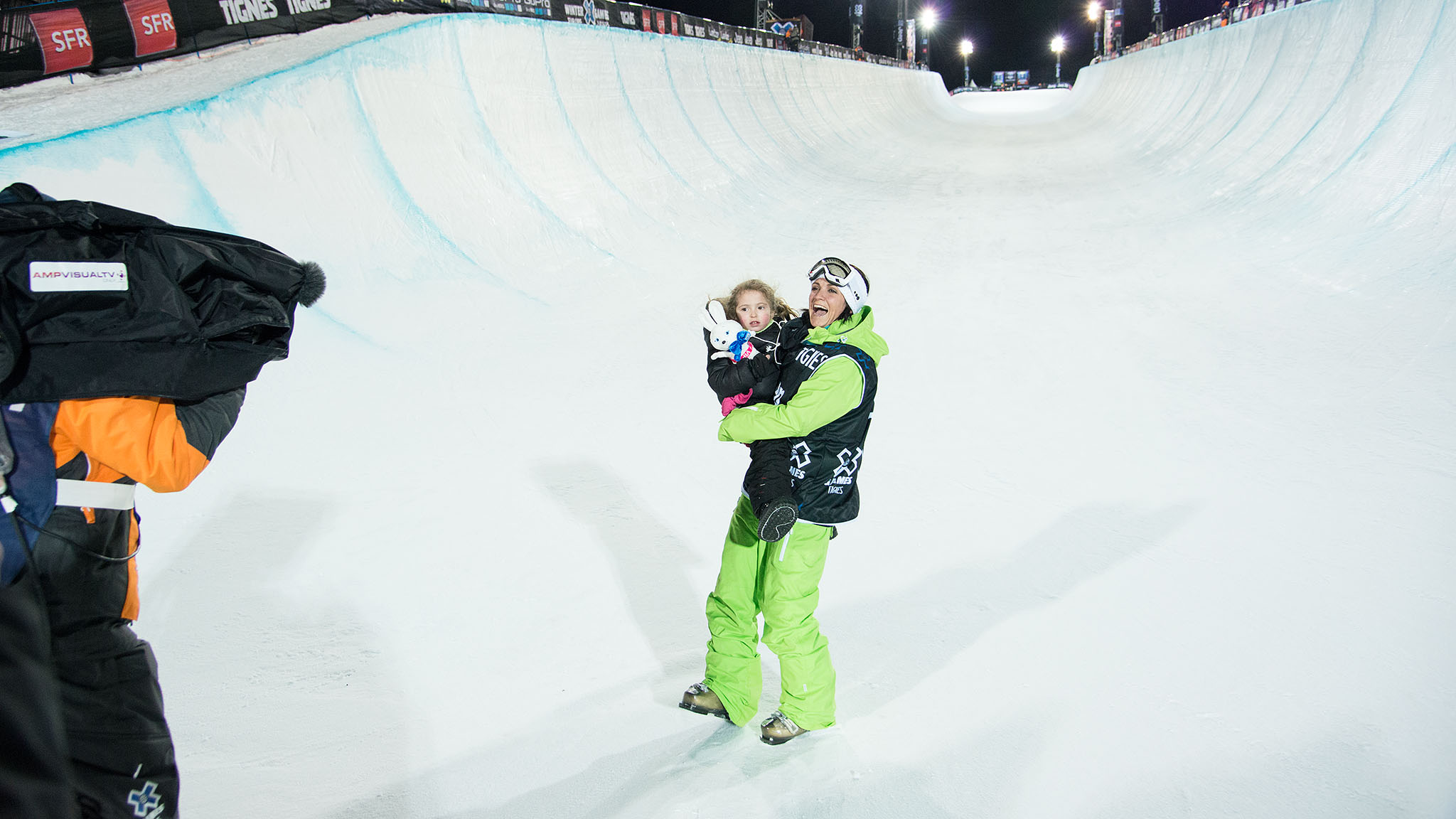 France's Marie Martinod and her daughter in the X Games Tignes SuperPipe.
