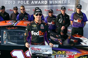 Denny Hamlin won the Sprint Cup pole for the second straight year at Fontana, turning a lap of 187.451 mph in his Joe Gibbs Racing Toyota.
