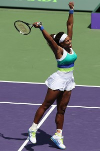 Serena Williams set a Sony Open record Saturday with her sixth title at the Key Biscayne tournament.