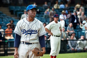 Chadwick Boseman, who previously appeared in The Express as Syraucse running back Floyd Little, stars as Jackie Robinson in 42.
