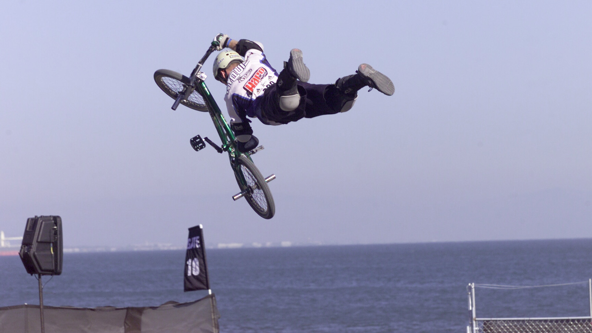 Superman seatgrab from Nyquist at the 2000 X Games in San Francisco. Nyquist is the sole BMX Park and Dirt competitor at X Games Foz with such an extensive background at X Games events.