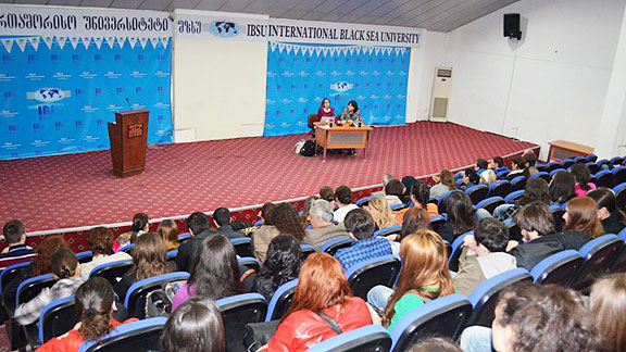 McManus spoke to an American studies class at International Black Sea University.