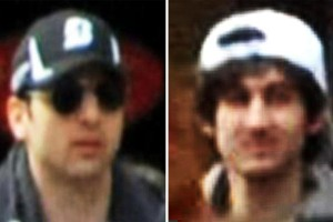 Marathon bombing suspect Tamerlan Tsarnaev, left, was shot and killed by police and his brother, Dzhokhar Tsarnaev, remained on the loose Friday.
