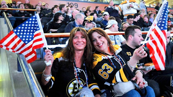 The healing process in Boston continued during Wednesday night's Bruins game against the Sabres.