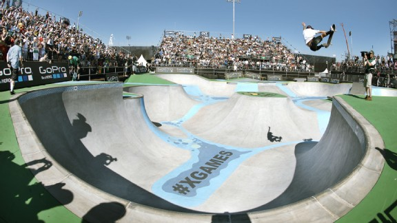 Pedro Barros takes gold in Skateboard Park at X Games Foz do Iguau, Brazil.