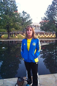 Diane Sherer visits the memorial.