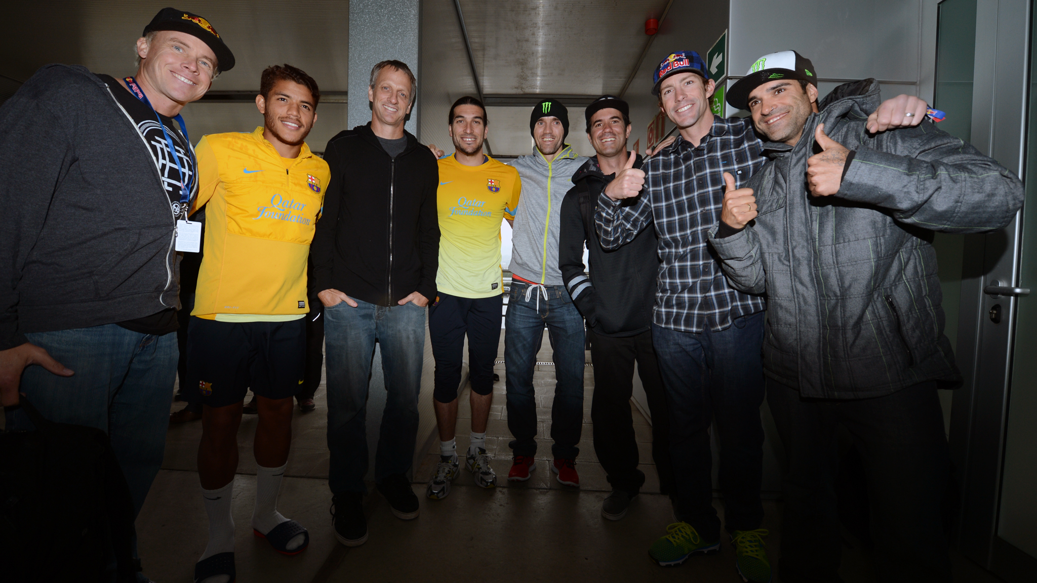 Kevin Robinson, Jonathan Dos Santos, Tony Hawk, Jose Pinto, Jamie Bestwick, Bob Burnquist, Travis Pastrana and Edgar Torronteras