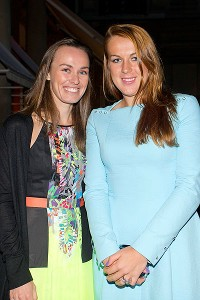 Anastasia Pavlyuchenkova, right, with coach Martina Hingis at the players' party.