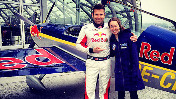 Sarah Hendrickson's whirlwind off-season included flying this Red Bull stunt plane.