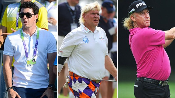 Ladies and gentlemen, now on the first tee, the all-time bad hair threesome pairing of Rory McIlroy, John Daly and Miguel Angel Jimenez.