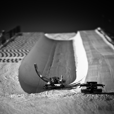 During the filming of TITA, the Cineflex helicopter filming Scotty Lago flew so low through this halfpipe it almost hit its rotors on the pipe walls.