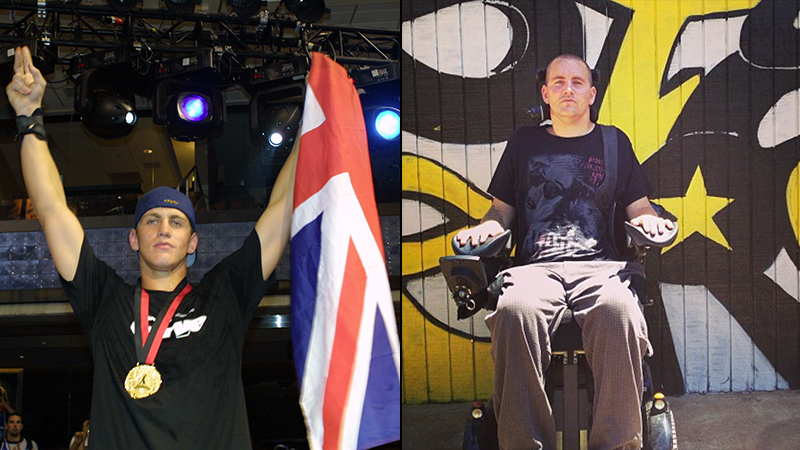 Stephen Murray at the 2001 X Games in Philadelphia, Pa. (left), and at the Stay Strong compound last month in Riverside, Calif. (right).