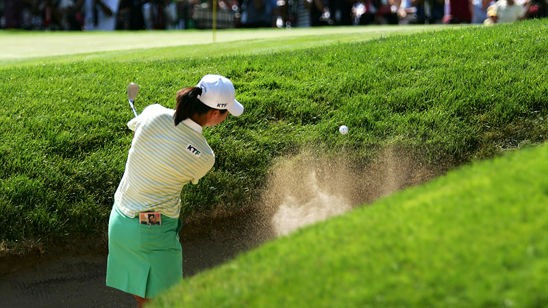 There had been only three birdies on the 18th hole throughout the tournament, but Birdie Kim somehow buried one from the bunker.