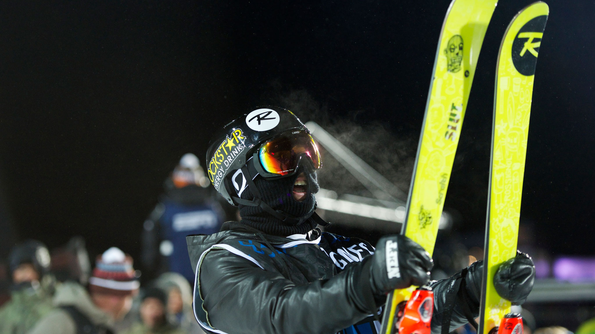 French halfpipe skier Joffrey Pollet-Villard in his face mask and leather jacket at X Games Tignes.