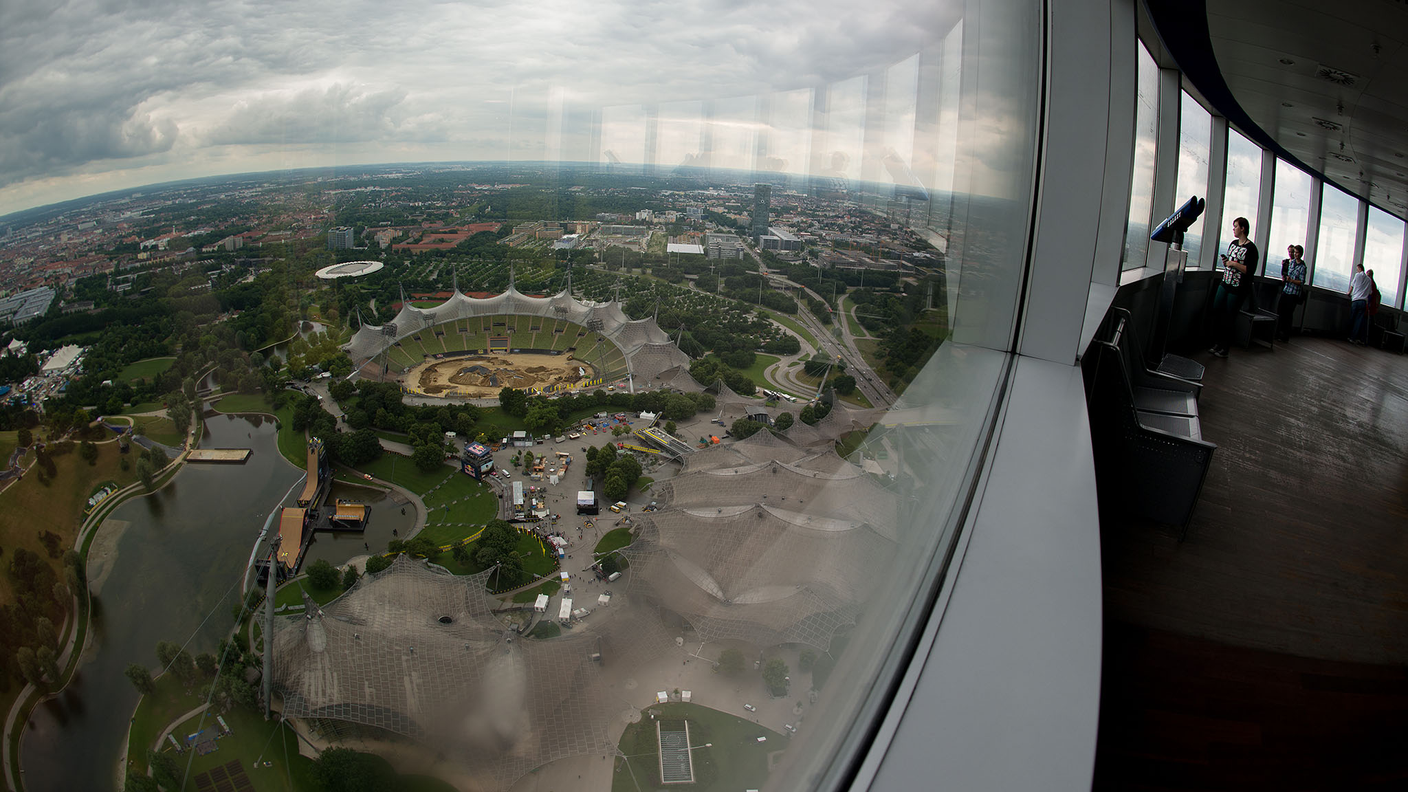 The Olympic Tower, beyond being architecturally interesting, is a useful orienting feature in the sprawling Olympiapark -- currently home to X Games Munich. Its glass-enclosed observation deck assures a panoramic view of the entire city, with outlines of prominent urban and geographic landmarks etched on the windows to help visitors get their bearings and discover new places to add to their itineraries.