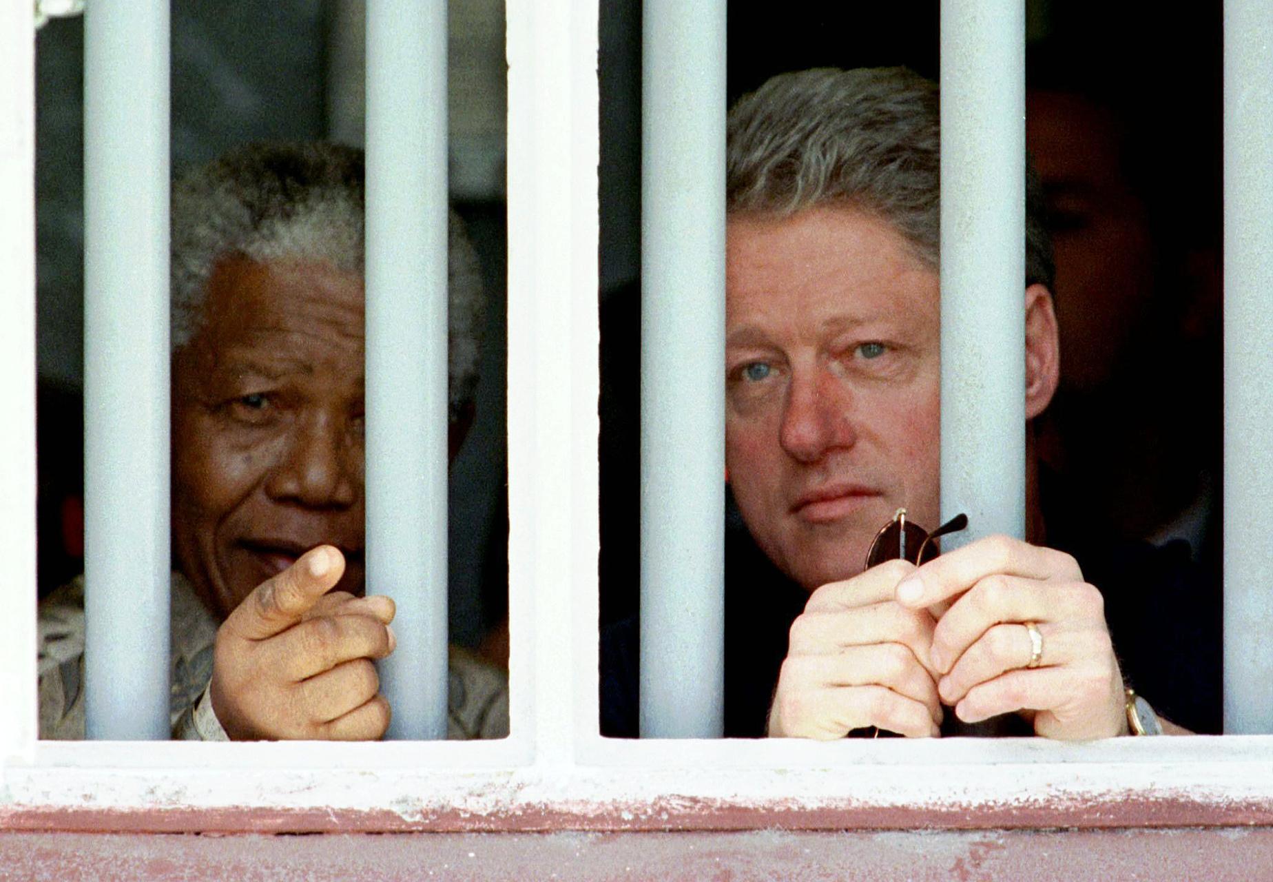 Nelson Mandela and President Bill Clinton