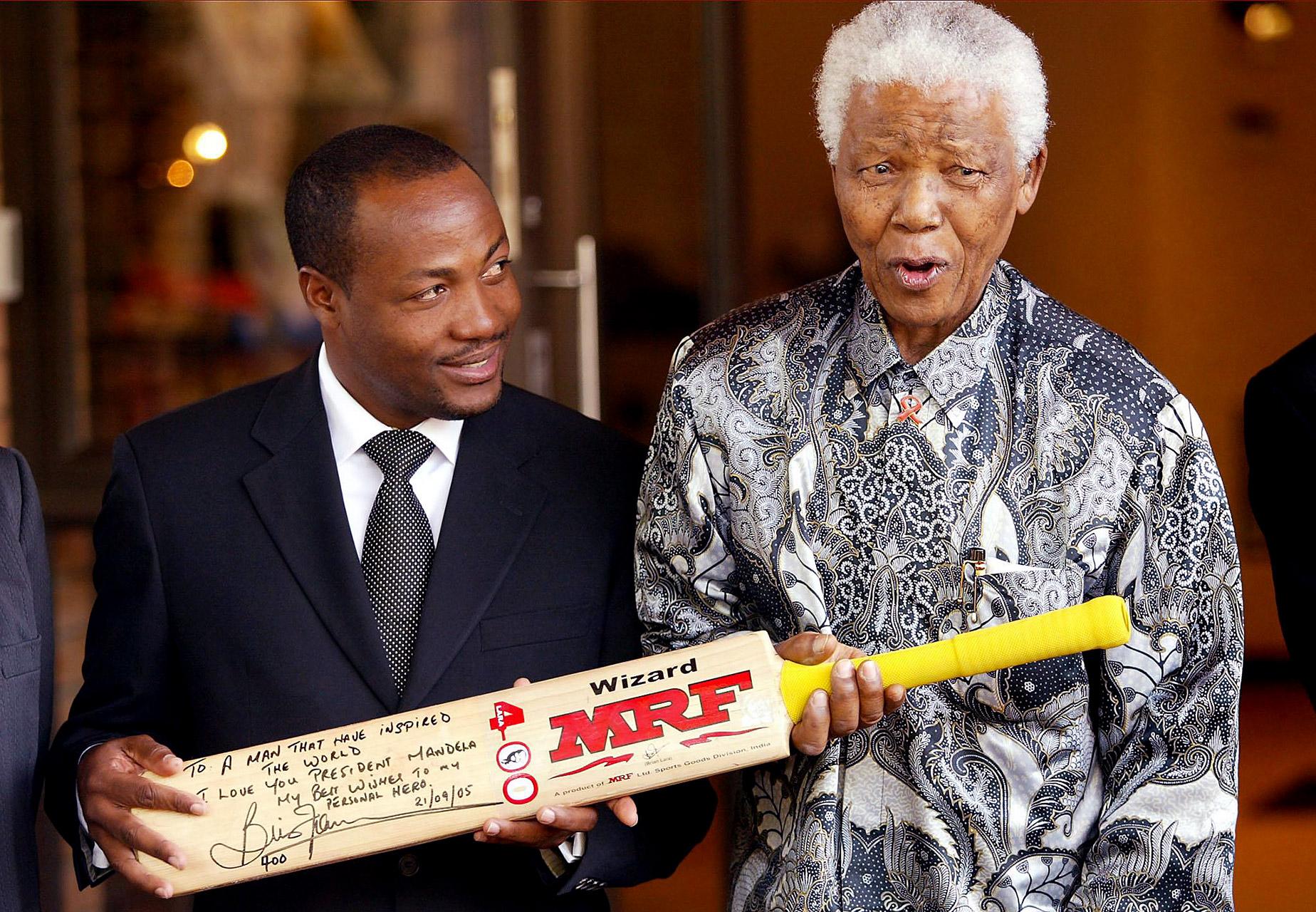 Brian Lara and Nelson Mandela