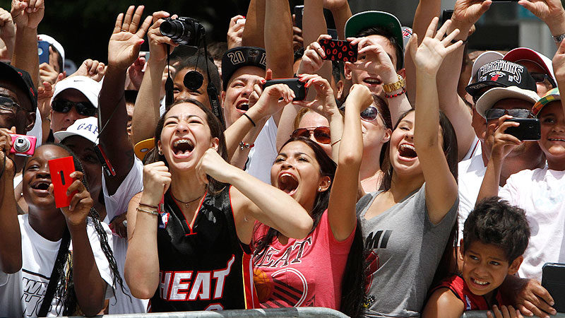 You can accuse Miami Heat fans of a lot of things, but you have to tip your party cap to them when it comes to celebrations.