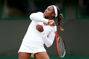 Sloane Stephens was unable to get back on track in her rain-interrupted, break-filled quarterfinal match.